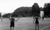Image of Tennis & Handball Courts, Camp Nahar, Pottersville, N.Y. 1309. - Print, Real Photo Postcard