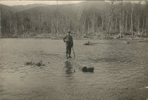 Image of River Driver Standing on Log - Print, Photographic