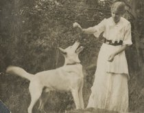 Image of Woman with Dog - Print, Photographic