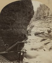 Image of [192. Gallery at mouth of Hyde's Cave, Ausable Chasm.] - Print, albumen