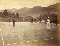 Image of 723. Tennis Court, St. Hubert's Inn, Keene Valley. - Print, albumen