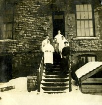 Image of on rear steps of laboratory, Feb. 1907 - Print, Gelatin Silver