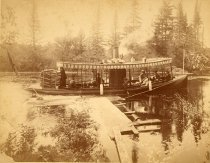"Image of Steam launch ""Utowana"", South Inlet Falls - Print, albumen"