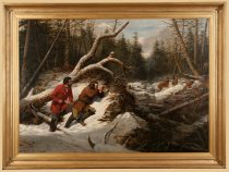 Image of Still Hunting On the First Snow:  a Second Shot - Painting