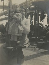 Image of Woman with Girl on Ship - Print, Photographic
