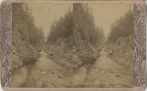 Image of Men at Split Rock Gorge - Stereoview