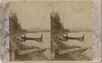 Image of Men on Spit Fire Pond - Stereoview