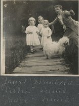 Image of Woman, Children, and Dog - Print, Photographic