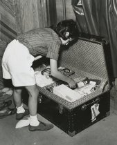 Image of Girl with Trunk Packed for Camp - Print, Photographic