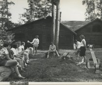 Image of Wood Chopping Demonstration at Camp - Print, Photographic