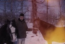 Image of Man and Two Horses - Transparency, Slide