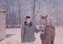 Image of Man and Horse - Transparency, Slide