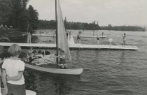 Image of Preparing to Sail on Raquette Lake at Camp  - Print, Photographic