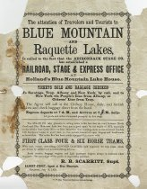 Image of The attention of travelers and tourists to Blue Mountain and Raquette Lakes... - Adirondack Stage Company
