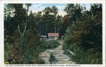 Image of An Old Corduroy Road and Trappers Cabin - 4th Lake, Adirondacks. - Postcard