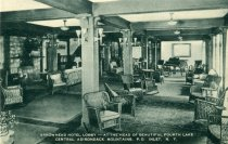 Image of Arrowhead Hotel Lobby-At the Head of Beautiful Fourth Lake Central Adironack Mountains, Inlet, N.Y.  - Postcard