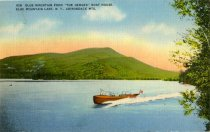 """Image of Blue Mountain from """"The Hedges"""" Boathouse, Blue Mountain Lake, N.Y., Adirondack Mts. - Postcard"""