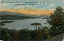 Image of Blue Mt. Lake, Eagle and Utowana Lakes from Cottage back of Blue Mt. House, Blue Mt. Lake, N.Y., Adirondacks - Postcard