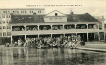 Image of Instruction in Fly Casting from the Dock at Saranac Inn, N.Y.  - Postcard