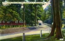 Image of View on lower road to Bisby Lodge, Old Forge, N.Y., Adirondack Mts. - Postcard