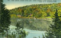 Image of View Looking Across Fifth Lake, State Highway Along Opposite Shore, Inlet, N.Y. Adirondack Mts.  - Postcard