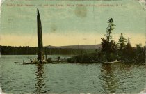 Image of Eagle's Nest, between 2nd and 3rd Lakes, Fulton Chain of Lakes, Adirondacks, N.Y. - Postcard
