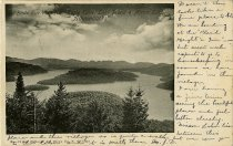 "Image of Birds Eye View from Eagle Eyrie, Lake Placid & Mirror Lake. ""Adirondacks"" - Postcard"