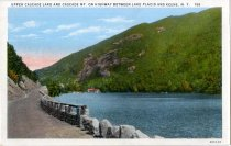 Image of Lower Cascasde Lake and Cascade Mt. On Highway Between Lake Placid and Keene, N.Y. - Postcard
