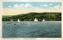 Image of Boating On Schroon Lake, N.Y., Adirondack Mountains - Postcard
