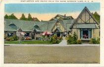 Image of Post Office and Brown Swan Tea Room, Schroon Lake, N.Y. - Postcard