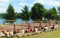 Image of Championship Match On One Of The 9 Tennis Courts At Scaroon Manor On Schroon Lake, New York - Postcard