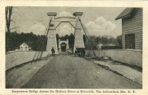 Image of Suspension Bridge Across the Hudson River at Riverside, The Adirondack Mts., N.Y. - Postcard