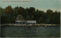 Image of Leland House Beach, Schroon Lake, Adirondacks,  N.Y. - Postcard
