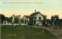 Image of Schroon Lake Stage approaching Riverside, N.Y., The Adirondacks - Postcard