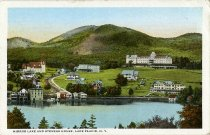 Image of Mirror Lake and Stevens House, Lake Placid, N.Y. - Postcard