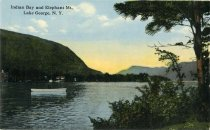 Image of Indian Bay and Elephant Mountain, Lake George, N.Y. - Postcard