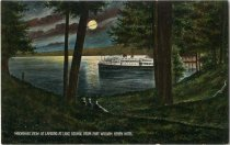 Image of Moonlight View of Landing at lake George from Fort William Henry Hotel - Postcard