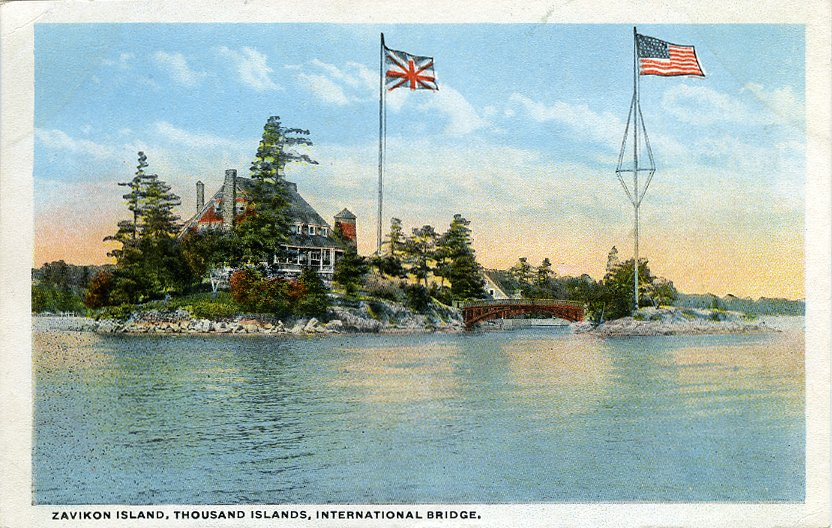 Zavikon Island, Thousand Islands, International Bridge. - Postcard