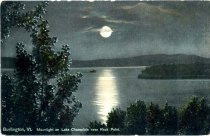 Image of Burlington, Vt. Moonlight on Lake Champlain near Rock Point - Postcard
