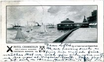 Image of View of Tennis Court and Hampton Roads - Postcard