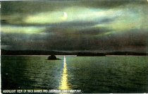 Image of Moonlight View of Rock Dunder and Juniper Island, Lake Champlain - Postcard