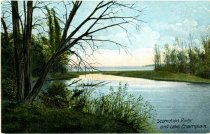 Image of Scomotion River and Lake Champlain - Postcard