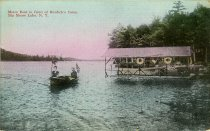 Image of Motor Boat in front of Burdick's Camp Big Moose Lake, N.Y. - Postcard
