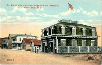 Image of Dr. Marnes Auto Club and Garage, on Lake Champlain, Rouses Point, N.Y. - Postcard