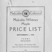 Image of A998.024.023 - Malcom Colonial price list, September 1, 1935