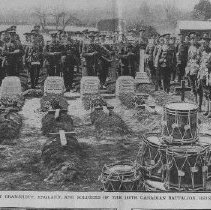 Image of Canadian Funeral at Bramshott, England and soldiers of 160th Battalion