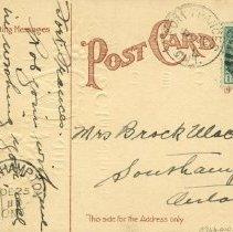 Image of Christmas post card to Mrs. Brock Macaulay 1911 (back)