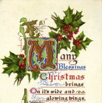 Image of Christmas post card to Mrs. Brock Macaulay 1911