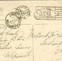 Image of Christmas post card to Brock Macaulay 1914  (back)