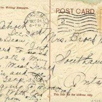 Image of Christmas post card to Mrs. Brock Macaulay 1908 (back)